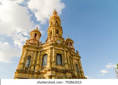 AGUASCALIENTES, MEXICO - CIRCA OCTOBER 2017: Saint Anthony Church - Templo de San Antonio de Padua, Aguascalientes