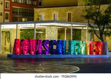 AGUASCALIENTES, MEXICO - CIRCA OCTOBER 2017: Night scene downtown Aguascalientes, Mexico