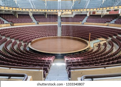 Aguascalientes, Mexico, March 27, 2018, National Saint Marcos palenque, a fair venue used for cockfights, conventions, muscial performances, bingo and 5000 seats conference hall