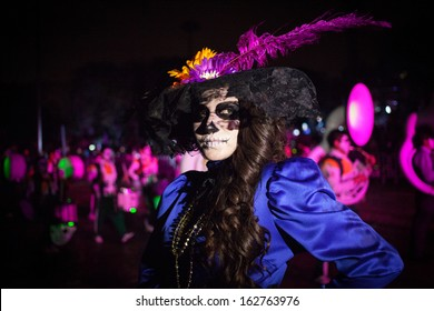 AGUASCALIENTES, MEXICO, NOV 02: Carnival of the Day of the Dead, Aguacalientes, Mexico, 02 November 2013. The Day of the Dead is one of the most popular holidays in Mexico