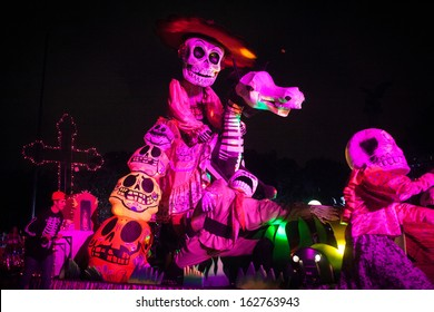 AGUASCALIENTES, MEXICO, NOV 02: Figures of skeletons on a carnival of the Day of the Dead, Aguacalientes, Mexico, 02 November 2013. The Day of the Dead is one of the most popular holidays in Mexico