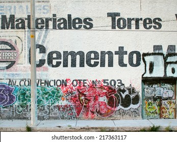 AGUASCALIENTES, MEXICO - OCTOBER 13, 2013: Vandalised with graffiti sprays by unidentified person. Photograph is taken near the Victoria stadium, Aguascalientes, Mexico.
