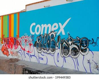 AGUASCALIENTES, MEXICO - OCTOBER 20, 2013:  Artistic graffiti or street art in El Obraje area of Aguascalientes city, Aguascalientes State, North central Mexico.