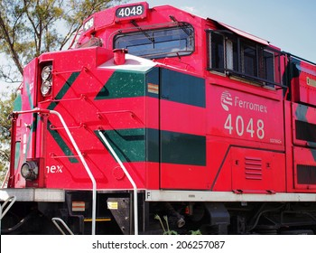 AGUASCALIENTES, MEXICO - OCTOBER 6, 2013:  Ferromex (abbreviation of Ferrocarril Mexicano or Mexican Railroad) locomotive photographed in Aguascalientes city. The largest railway company in Mexico.