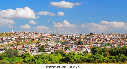 AGUASCALIENTES, MEXICO - OCTOBER 6, 2013:  Housing development for influx of people in Fraccionamiento Los Pericos area of Aguascalientes city, one of the most rapidly growing city in Mexico.