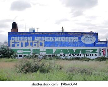 AGUASCALIENTES, MEXICO - SEPTEMBER 16, 2013: Political propaganda of PRI party (Partido Revolucionario Institucional or Institutional Revolution Party) in Barrio Huertas area of Aguascalientes city.