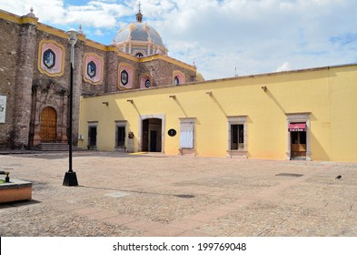 AGUASCALIENTES, MEXICO - SEPTEMBER 21, 2013: Old cathedral in Barrio El Encino area of Aguascalientes city, Aguascalientes State, North central Mexico.