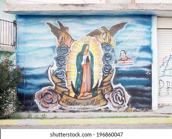 AGUASCALIENTES, MEXICO - SEPTEMBER 26:  Prayer mural of Immaculate Virgin of Guadalupe or Our Lady of Guadalupe in Aguascalientes city, Aguascalientes State of Mexico on September 26, 2013.