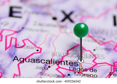 Aguascalientes pinned on a map of Mexico