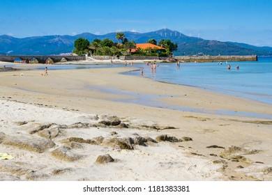 Aguieira beach in Porto do Son at summertime