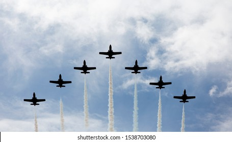 """""""Aguila air patrol"""" in Exhibition and Air parade in the sky of Madrid, Spain"""
