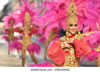 Aguilas, Murcia, Spain; 03 8 2019. Parade of Foreign clubs. Carnival Fiesta, declared of International Tourist Interest, which takes place before lent (between February and March).