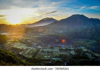 Agung Mountain, Batur Mountain, Abang Mountain's Landscape from Kintamani