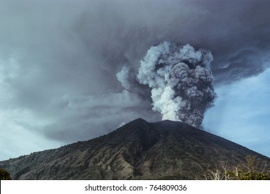 Agung volcano eruption. Photos taken from a distance of five kilometers from the crater of active volcano Agung in Bali.