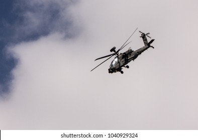 AH-64 Apache combat helicopter in RIAT airshow