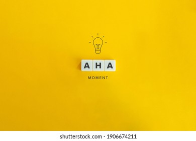 Aha Moment, Problem Solving, and Eureka Effect Concept Banner. Block letters on bright orange background. Minimal aesthetics.