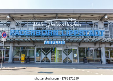 Ahden, Germany - August 8, 2020: Terminal building of Paderborn Lippstadt Airport (PAD) in Germany.