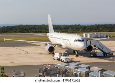 Ahden, Germany - August 8, 2020: Sundair Airbus A319 airplane at Paderborn Lippstadt Airport (PAD) in Germany. Airbus is a European aircraft manufacturer based in Toulouse, France.