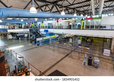 Ahden, Germany - August 8, 2020: Terminal building of Paderborn Lippstadt Airport in Germany.