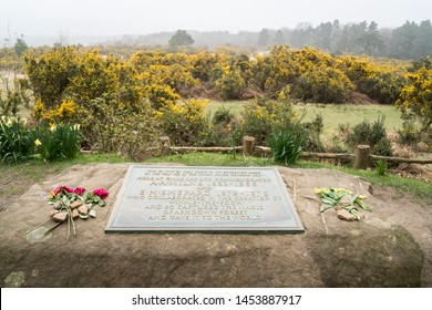 AHDOWN FOREST, EAST SUSSEX, UK, APRIL 2019 - Memorial plaque to A A Milne & E H Shepard who wrote and  illustrated Winnie the Pooh, in Ashdown Forest, East Sussex, UK