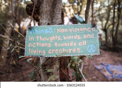 Ahimsa sign in the forest