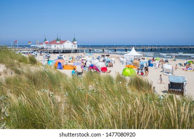 AHLBECK, GERMANY - JULY 28  2019: The piers are the landmark of the seaside resorts.