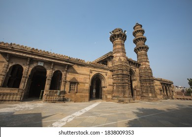 AHMEDABAD, GUJARAT, INDIA – 15 JAN 2015 THE MOSQUE WAS BUILT BY MOTHER OF SULTAN AHMAD SHAH II IN 1454 A.D. AT AHMEDABAD CITY. THE CITY IS NOW DECLARED AS UNESCO WORLD HERITAGE CITY. GUJARAT, INDIA