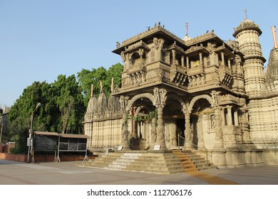 AHMEDABAD, GUJARAT / INDIA - APRIL 06 : Hutheesing Jain Temple on April 06, 2012 in Ahmedabad. General view of he temple from West.