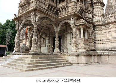 AHMEDABAD, GUJARAT / INDIA - AUGUST 20 : Hutheesing Jain Temple on August 20, 2012 in Ahmedabad. Intricate stone carving on the archs & columns of  ' Mukhamandapa ', the main entrance.