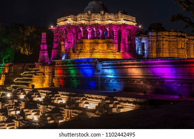 AHMEDABAD, GUJARAT, INDIA -JANUARY 16,2016 - UTTARARDH FESTIVAL AT SUN TEMPLE MODHERA NEAR MEHSANA IN GUJARAT STATE. WHERE BEAUTIFUL LIGHTING AT NIGHT DONE BY GOVERNMENT OF GUJARAT.