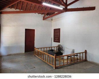 Ahmedabad, Gujarat / India- January 5 2019: A view of the Mahatma Gandhi's room at his ashram by the Sabarmati River.