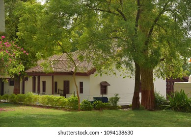 AHMEDABAD, GUJARAT, INDIA, MAY 14, 2018: Gandhi Ashram at Sabarmati. Buildings were meetings and prayers were held or great leaders lived during Independence struggle.