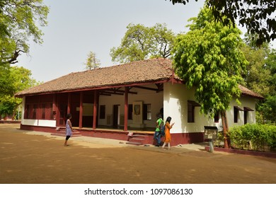 AHMEDABAD, GUJARAT, INDIA, MAY 14, 2018: Prayer hall at the Sabarmati Ashram where Mahatma Gandhi spent his time during Independence movement to meet with people. Nucleus of Independence movement.