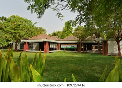 AHMEDABAD, GUJARAT, INDIA, MAY 14, 2018: Sabarmati Ashram where Mahatma Gandhi spent his time during Independence movement. View of the Museum displaying photographs and materials from his life.
