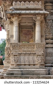 AHMEDABAD, GUJARAT / INDIA - SEPTEMBER 18 : Hutheesing Jain Temple on September 18, 2012 in Ahmedabad. Stone carving on balcony in Mukhamandapa, the main entrance. View from South.