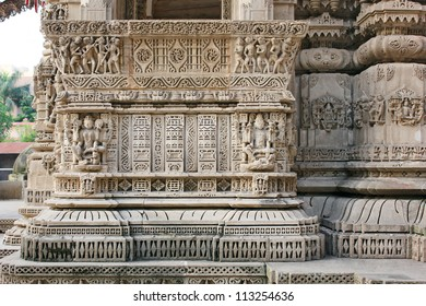 AHMEDABAD, GUJARAT / INDIA - SEPTEMBER 18 : Hutheesing Jain Temple on September 18, 2012 in Ahmedabad. Wonderful stone carving on the balcony of Mukhamandapa, the main entrance. Created in 1847 A.D.