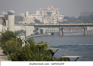 Ahmedabad, GUJARAT/ INDIA-July 17 : View of Sabarmati Riverfront on July 1, 2017 in Ahmedabad.