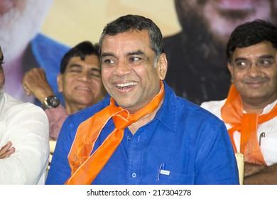 AHMEDABAD, GUJARAT/INDIA - 10 SEPTEMBER 2014 : Actor-turned-polician and Ahmedabad East MP Paresh Rawal said, urges Maninagar to set new vote margin victory. in Ahmedabad,India.