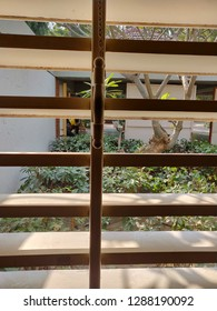 Ahmedabad, Gujarat/India- January 5, 2019: A view of the Mahatma Gandhi Ashram at Sabarmati through a window.
