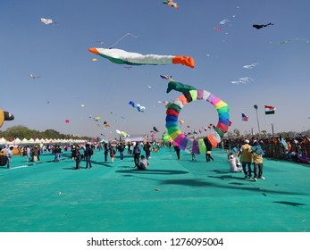 Ahmedabad, Gujarat/India- January 6, 2019: Colorful kites in the sky at the International Kite Festival in Ahmedabad