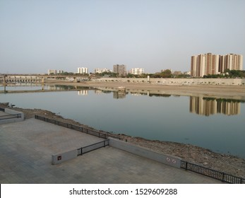 Ahmedabad, Gujarat/India- October 11 2019: Pollution in sabarmati river front due to urbanization.