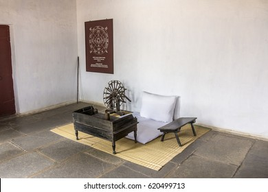 AHMEDABAD, INDIA - FEBRUARY 16, 2017: Mahatma Gandhis seat and spinning wheel at his Ashram at Ahmedabad, India