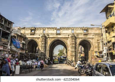 AHMEDABAD, INDIA - FEBRUARY 17, 2017: historic gate at the market of the old city of Ahmedabad, Gujarat, India,
