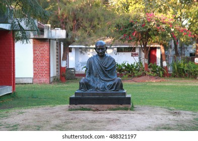 AHMEDABAD, INDIA - FEBRUARY 26, 2015: Mahatma Gandhi monument in Sabarmati Ashram. Sabarmati Ashram is the spiritual center founded by Mahatma Gandhi in 1917, headquater of freedom fighting
