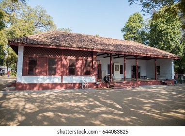 AHMEDABAD, INDIA - February 9, 2015: Indian freedom fighter Mahatma Gandhi's Visitor Room at Sabarmati Ashram - Ahmedabad, Gandhinagar, Gujarat, India, Southeast, Asia