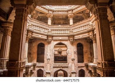 AHMEDABAD, INDIA - February 9, 2015: Adalaj Stepwell - Indian Heritage tourist place, Ahmedabad, Gandhinagar, Gujarat, India, Southeast, Asia.