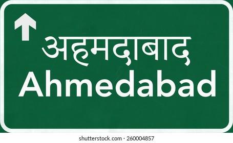 Ahmedabad India Highway Road Sign