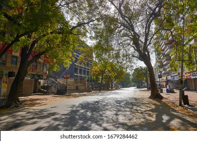 AHMEDABAD, INDIA, MARCH 22, 2020: Ghost city  after implimentation of Janata Curfew (People's Curfew) to combat Corona Virus threat