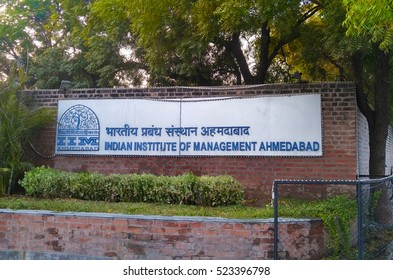 Ahmedabad, India - November 26, 2016: Sign of the The Indian Institute of Management (IIM) Ahmedabad. IIM is a premier business school located in Ahmedabad, Gujarat, India.