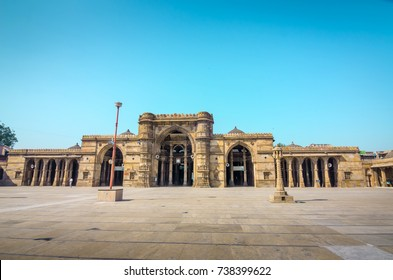 AHMEDABAD, INDIA - NOVEMBER 27, 2016: Jama Mosque or Juma Masjid, an ancient islamic architecture in heritage city of Ahmedabad, Gujarat, India